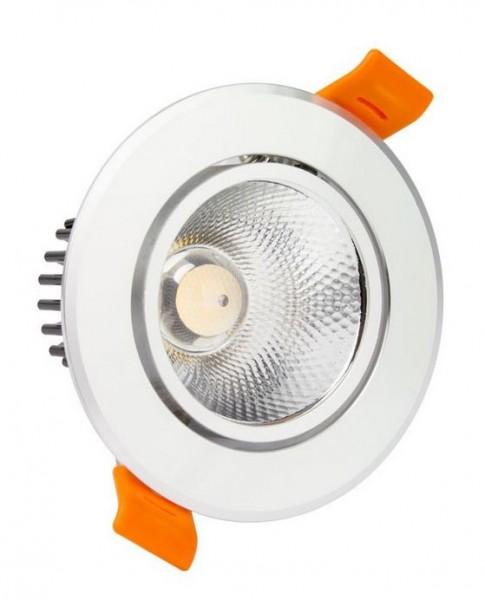 LED Einbaustrahler/ Downlight schwenkbar silber, neutralweiß 4500K, 490lm; 5W