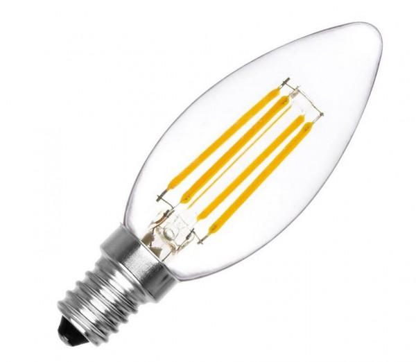 LED Lampe Filament Kerzenform, 4 Watt, Lichtfarbe 2500K warmweiß, 380 LEDlm