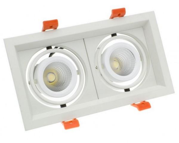LED Einbaustrahler/ Downlight eckig LEDL-2x10-850, 5000K,1700 lm; 2 x 10Watt