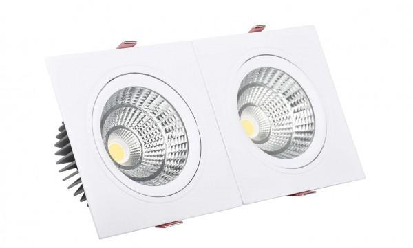 LED Einbaustrahler/ Downlight COB eckig, 2 x 10Watt, Lichtfarbe 3000K Warmweiß