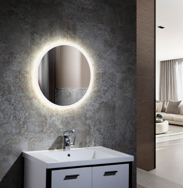 Spiegel mit LED Beleuchtung für's Bad Ø 800, 55 Watt, Lichtfarbe 6000K