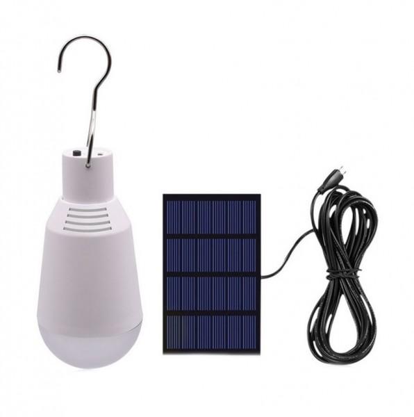 LED Lampe Glühlampenform tragbar mit Solarladegerät, 2 Watt, Lichtfarbe 5000K