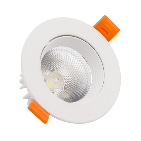 LED Einbaustrahler/ Downlight 7W COB schwenkbar weiß, Lichtfarbe 6000K