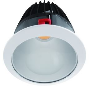 LED Einbaustrahler, Abmessungen gesamt Ø270mm, DA Ø250mm, Einbautiefe 180mm, RAL9010