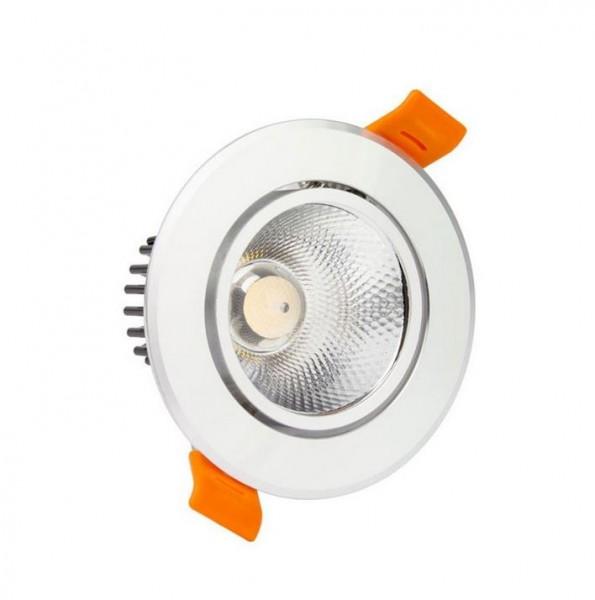 LED Einbaustrahler/ Downlight 12W schwenkbar Silber Lichtfarbe 3000K warmweiß