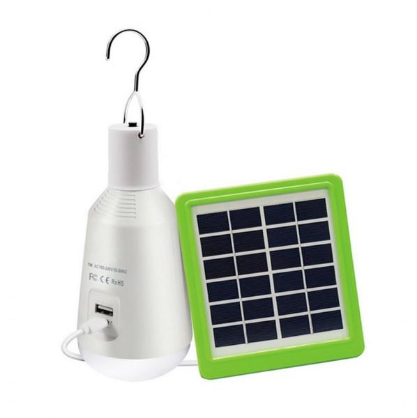 LED Lampe Glühlampenform tragbar mit Solarladegerät, 7 Watt, Lichtfarbe 5000K