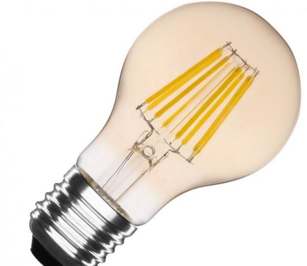 LED Lampe Filament Glühlampenform Goldtönung, 6 Watt, Lichtfarbe 2500K warmweiß